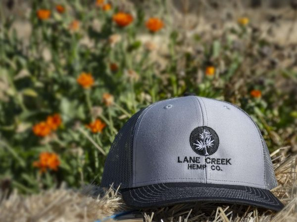 Black-and-Gray-trucker-hat-lane-creek-hemp-co-merchandise
